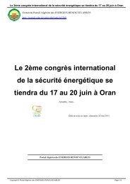 Le 2ème congrès international de la sécurité énergétique se tiendra ...