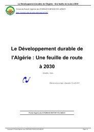 Le Développement durable de l'Algérie  Une feuille de route à 2030
