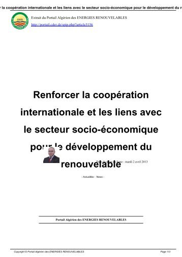 Renforcer la coopération internationale et les liens avec le secteur ...