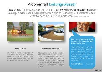 Flyer Entwurf Teile Mineralwasser und Leitungswasser