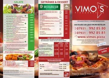 VIMO'S SPEISEKARTE