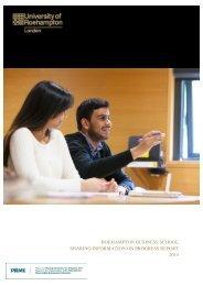 ROEHAMPTON BUSINESS SCHOOL SHARING INFORMATION ON PROGRESS REPORT 2015