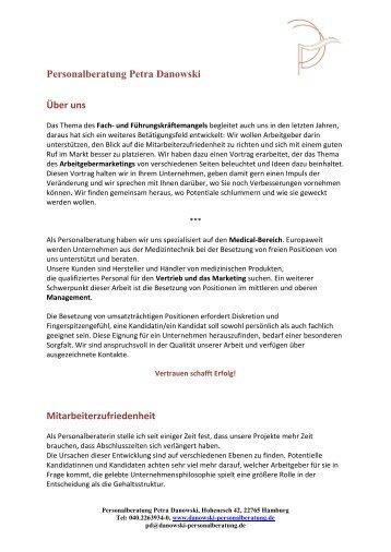 Personalberatung Petra Danowski Über uns Mitarbeiterzufriedenheit