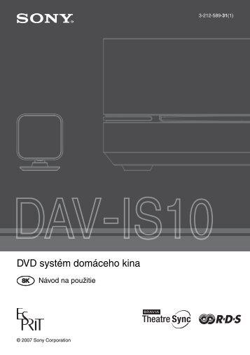 Sony DAV-IS10 - DAV-IS10 Istruzioni per l'uso Slovacco