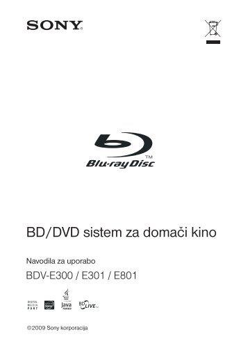 Sony BDV-E800W - BDV-E800W Istruzioni per l'uso Sloveno