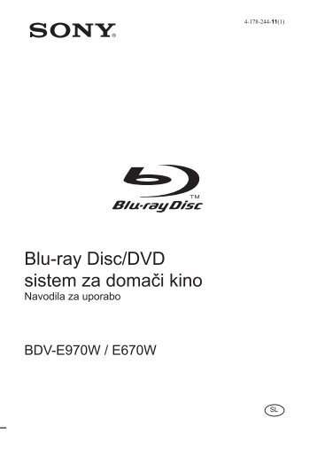 Sony BDV-E670W - BDV-E670W Istruzioni per l'uso Sloveno