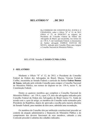 RELATÓRIO Nº  DE 2013