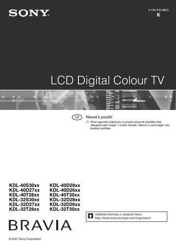 Sony KDL-40D2600 - KDL-40D2600 Istruzioni per l'uso Ceco