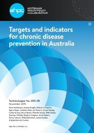 Targets and indicators for chronic disease prevention in Australia