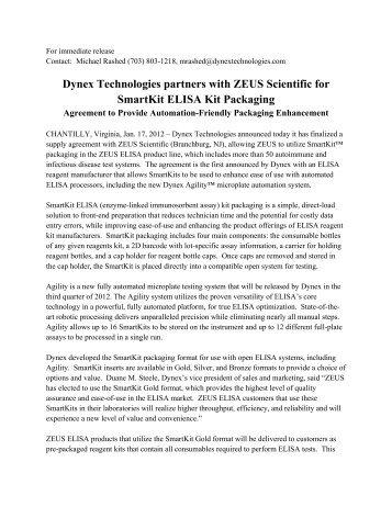 Dynex Technologies partners with ZEUS Scientific for SmartKit ...