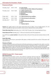 Presence at Poster WONCA Europe 2012 - Poster award ...