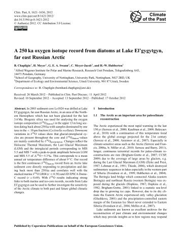 A 250 ka oxygen isotope record from diatoms at Lake El'gygytgyn ...