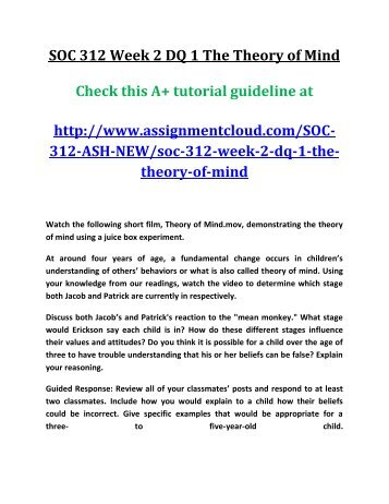 soc 312complete course Soc 312complete course  topics: theory of  soc 312 entire course - new course if you want to purcahse a+ work then click the link below for instant down load.