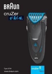 Braun CruZer2, CruZer3, CruZer4 Face, CruZer5 Face-Z40, Z50, 2778, 2878 - CruZer5, face UK, FR, PL, CZ, SK, HU, HR, SL, TR, RO, MD, RU, UA, ARAB