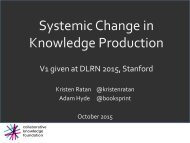 Systemic Change in Knowledge Production