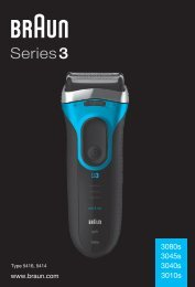 Braun Series 3 wet&dry, CruZer6 Clean shave, Old Spice-340s-4, 345s-4, 340s-5, 345s-5, 3010 - 3080s, 3045s, 3040s, 3010s DE, UK, FR, ES, PT, IT, NL, DK, NO, SE, FI, PL, CZ, SK, HU, HR, SL, TR, RO, GR, BG, RU, UA, ARAB