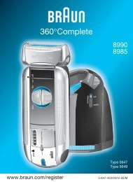 Braun Series 5, 360° Complete-540, 570cc, 8970, 8985, 8986, 8987 - 8990, 8985 360°Complete DE, UK, FR, ES, PT, IT, NL, DK, NO, SE, FI, TR, GR
