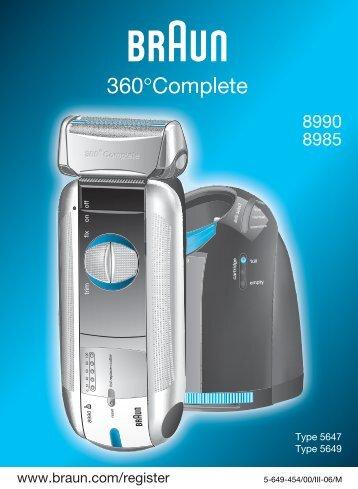 Braun Series 5, 360° Complete-540, 570cc, 8970, 8985, 8986, 8987 - 8990, 8985 360°Complete UK, FR, PL, CZ, SK, HU, HR, SL, TR, RU, UA, ARAB