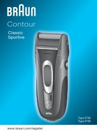 Braun Series 3, Contour-350, 360, 5873, 5874 - Contour Classic, Sportive DE, UK, FR, ES, IT, NL