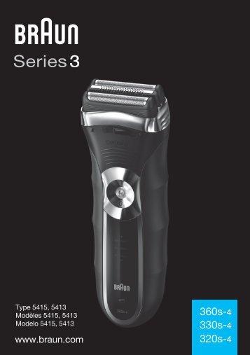 Braun Series 3-360s-4, 360s-5, 3030 - 360s-4, 330s-4, 320s-4, Series 3 UK, FR, ES (USA, CDN, MEX)