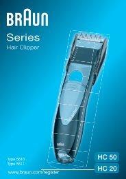 Braun Hair Perfect-HC20 - HC50, HC20, Hair Clipper/Hair Perfect DE, UK, FR, ES, PT, IT, NL, DK, NO, SE, FI, TR, GR