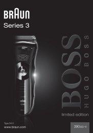 Braun Series 3-390cc-4, 390cc-5, 3090cc - 390cc-4, BOSS limited edition, Series 3 DE, UK, FR, ES, PT, IT, NL, DK, NO, SE, FI, TR, GR