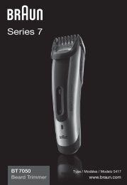 Braun cruZer6 beard&head, Beard Trimmer-cruZer6, BT 5070, BT 5090, BT 7050 - BT7050 Beard trimmer, Series 7 UK, FR, ES (USA, CDN, MEX)