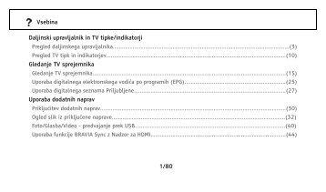 Sony KDL-37EX401 - KDL-37EX401 Istruzioni per l'uso Sloveno