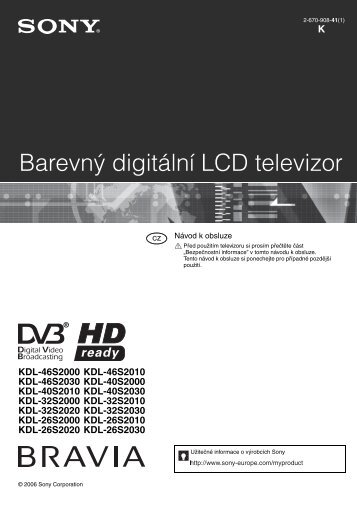 Sony KDL-26S2010 - KDL-26S2010 Istruzioni per l'uso Ceco