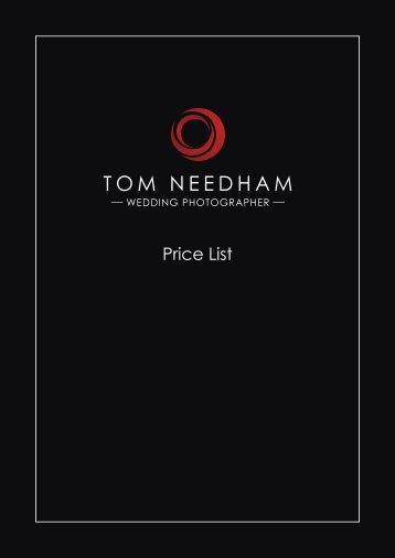 Tom Needham - Wedding Photography Price List