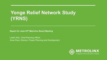 Yonge Relief Network Study (YRNS)