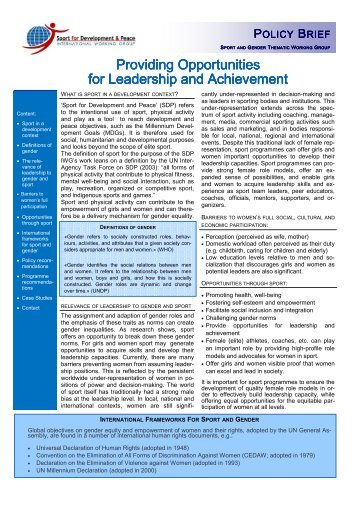 Providing Opportunities for Leadership and Achievement
