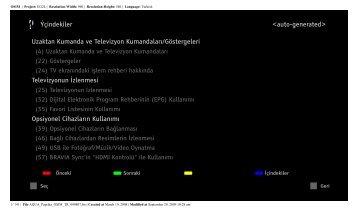 Sony KDL-46Z5800 - KDL-46Z5800 Istruzioni per l'uso Turco
