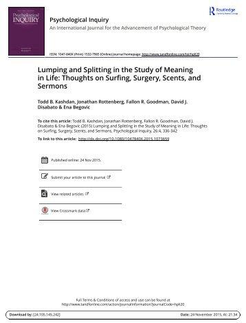 Kashdan Rottenberg et al (2015) Lumping splitting meaning PI