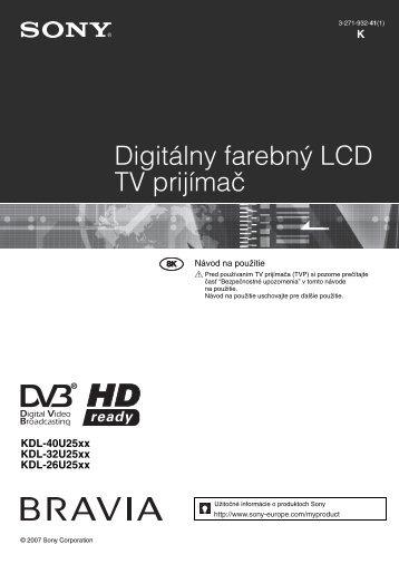 Sony KDL-32U2530 - KDL-32U2530 Istruzioni per l'uso Slovacco