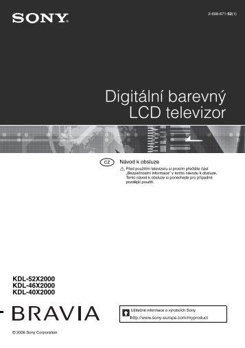 Sony KDL-52X2000 - KDL-52X2000 Istruzioni per l'uso Ceco