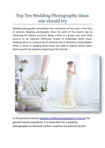 Top Ten Wedding Photography Ideas one should try