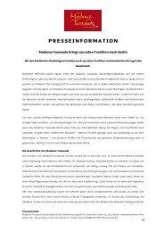 presseinformation - Madame Tussauds
