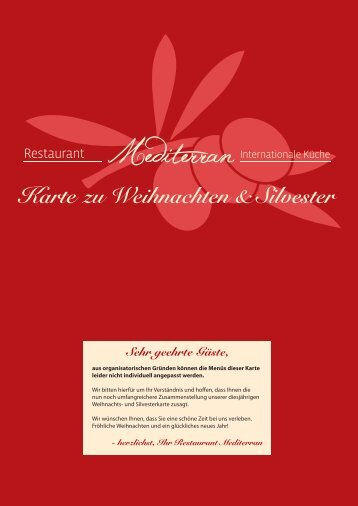 Restaurant Mediterran - Weihnachts & Silvesterkarte 2015