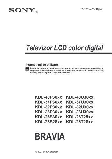 Sony KDL-37P302H - KDL-37P302H Istruzioni per l'uso Rumeno