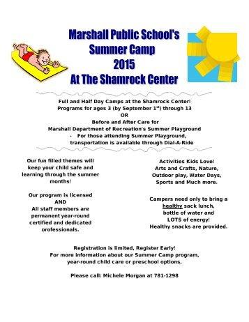 2013 Summer Camp - Marshall Public Schools