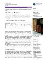Die Bibel im Pietismus - Franckesche Stiftungen