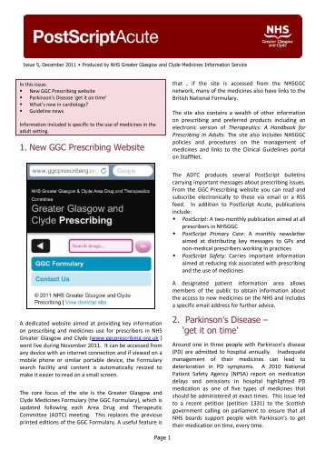 Issue 5, December 2011 Produced by NHS Greater - GGC Prescribing