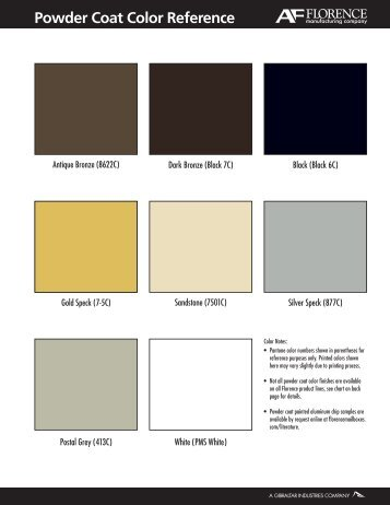 Powder Coat Color Reference