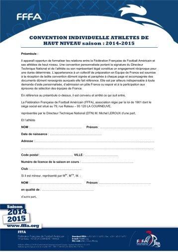 CONVENTION INDIVIDUELLE ATHLETES DE HAUT NIVEAU saison  2014-2015