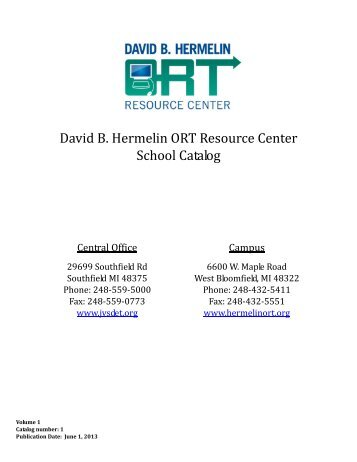 David B Hermelin ORT Resource Center School Catalog