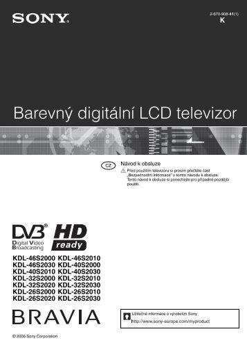 Sony KDL-46S2030 - KDL-46S2030 Istruzioni per l'uso Ceco
