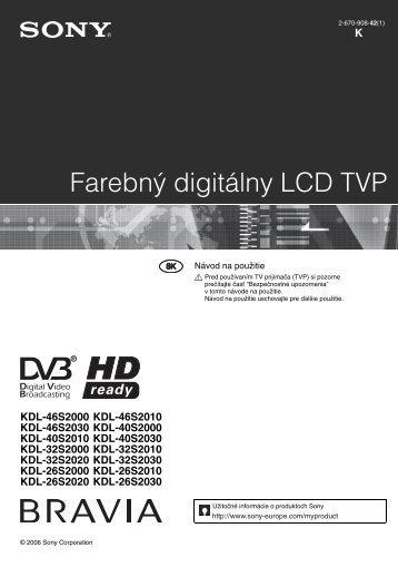 Sony KDL-46S2030 - KDL-46S2030 Istruzioni per l'uso Slovacco