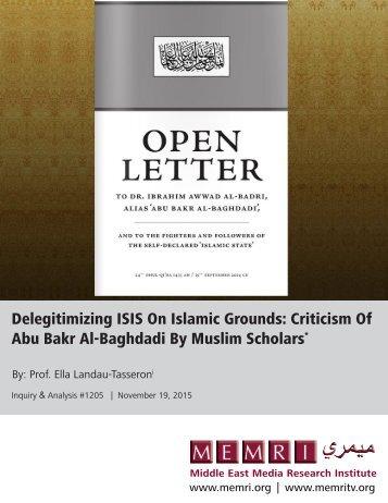 Abu Bakr Al-Baghdadi By Muslim Scholars