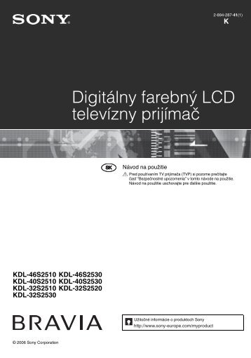 Sony KDL-32S2510 - KDL-32S2510 Istruzioni per l'uso Slovacco